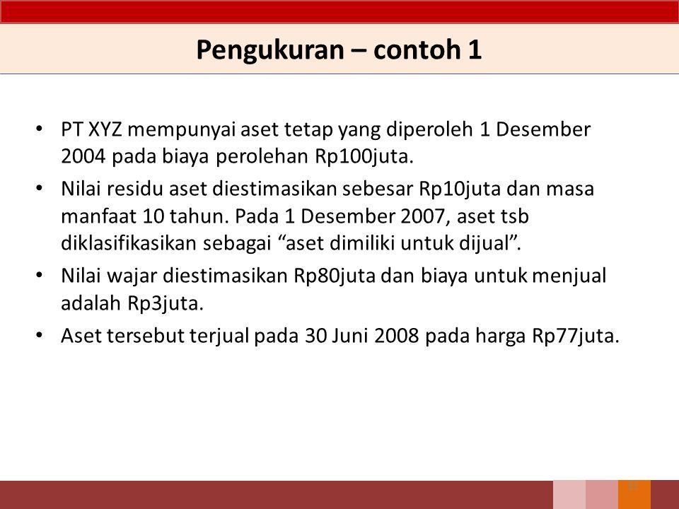 Pengukuran – contoh 1 PT XYZ mempunyai aset tetap yang diperoleh 1 Desember 2004 pada biaya perolehan Rp100juta.