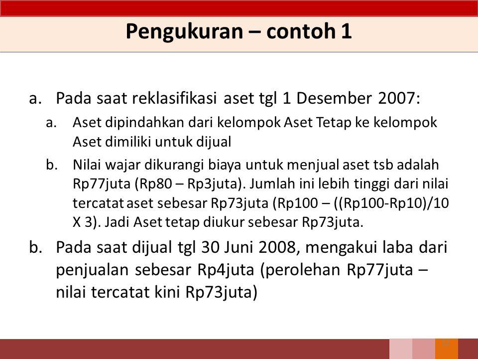 Pengukuran – contoh 1 Pada saat reklasifikasi aset tgl 1 Desember 2007: