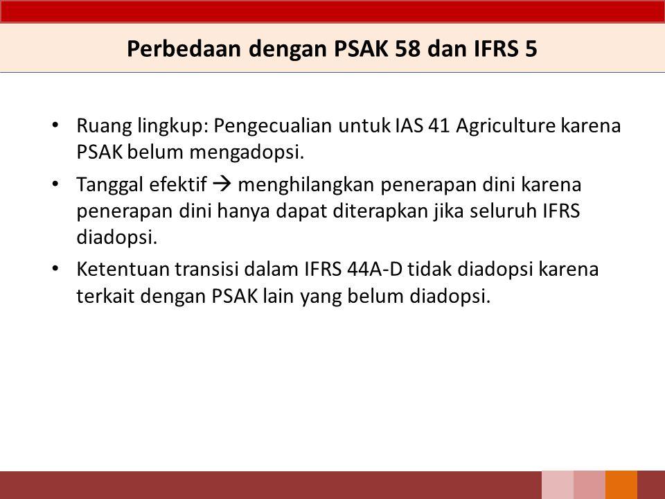 Perbedaan dengan PSAK 58 dan IFRS 5