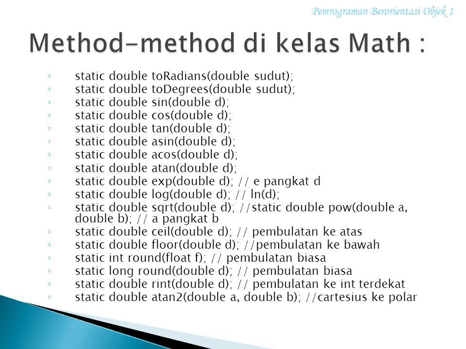 Method-method di kelas Math :