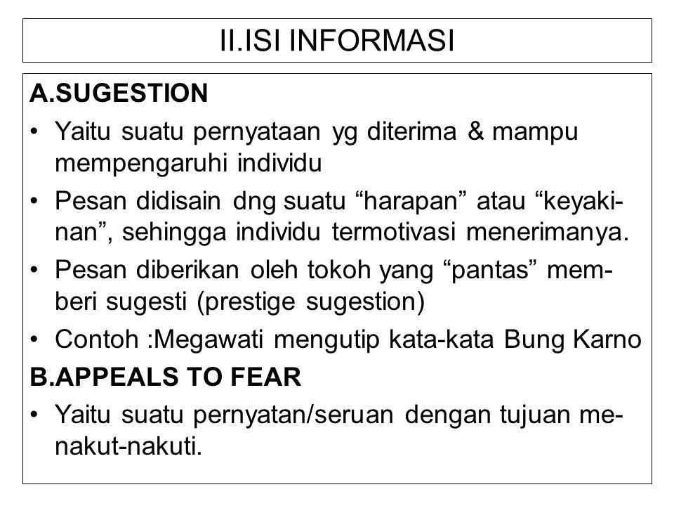 II.ISI INFORMASI A.SUGESTION