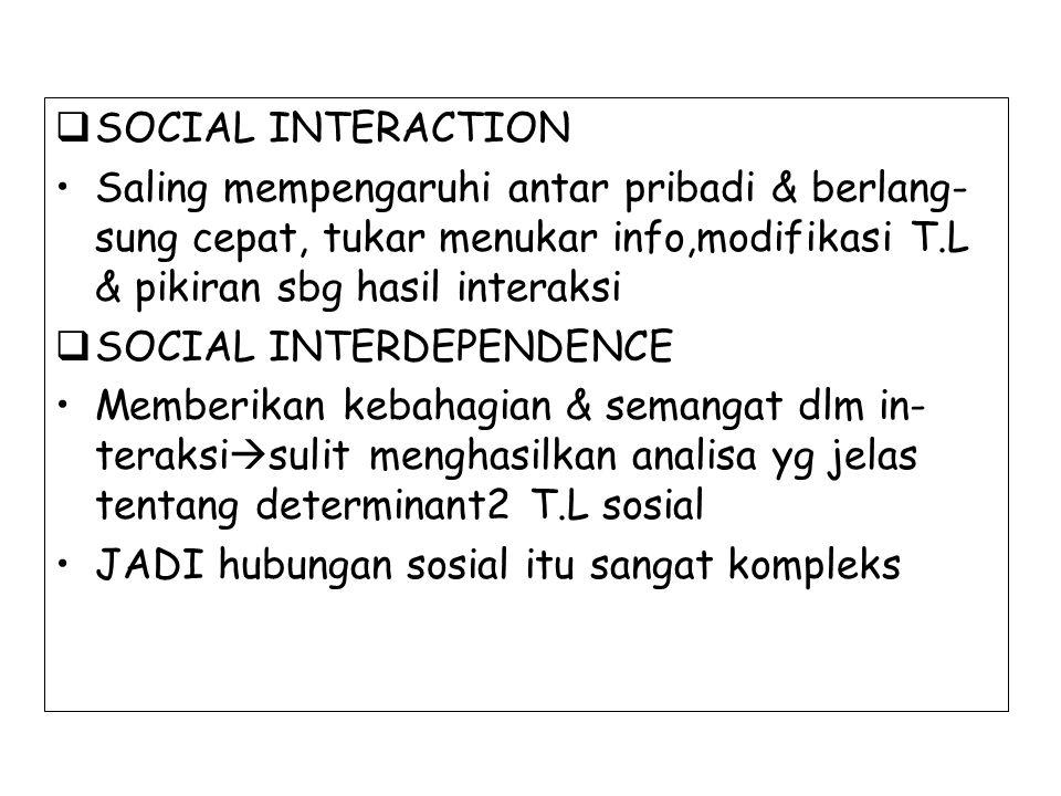 SOCIAL INTERACTION Saling mempengaruhi antar pribadi & berlang- sung cepat, tukar menukar info,modifikasi T.L & pikiran sbg hasil interaksi.