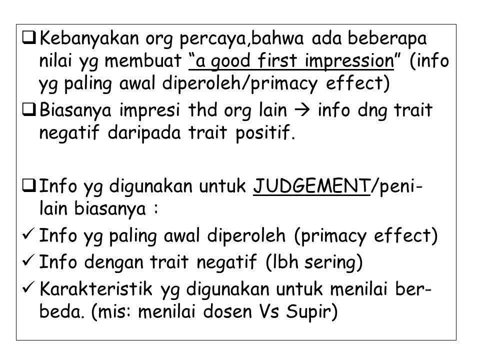 Kebanyakan org percaya,bahwa ada beberapa nilai yg membuat a good first impression (info yg paling awal diperoleh/primacy effect)