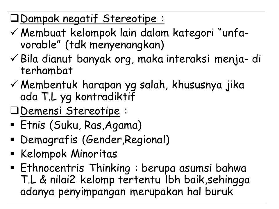 Dampak negatif Stereotipe :