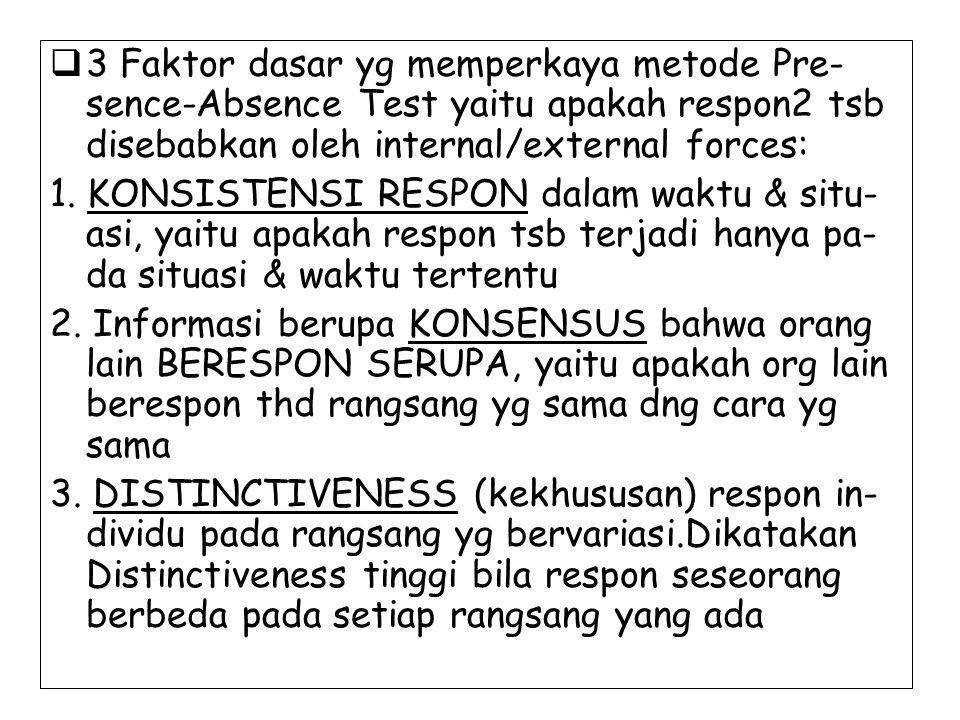 3 Faktor dasar yg memperkaya metode Pre-sence-Absence Test yaitu apakah respon2 tsb disebabkan oleh internal/external forces:
