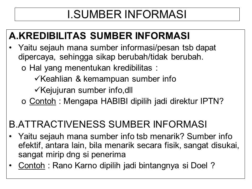 I.SUMBER INFORMASI A.KREDIBILITAS SUMBER INFORMASI