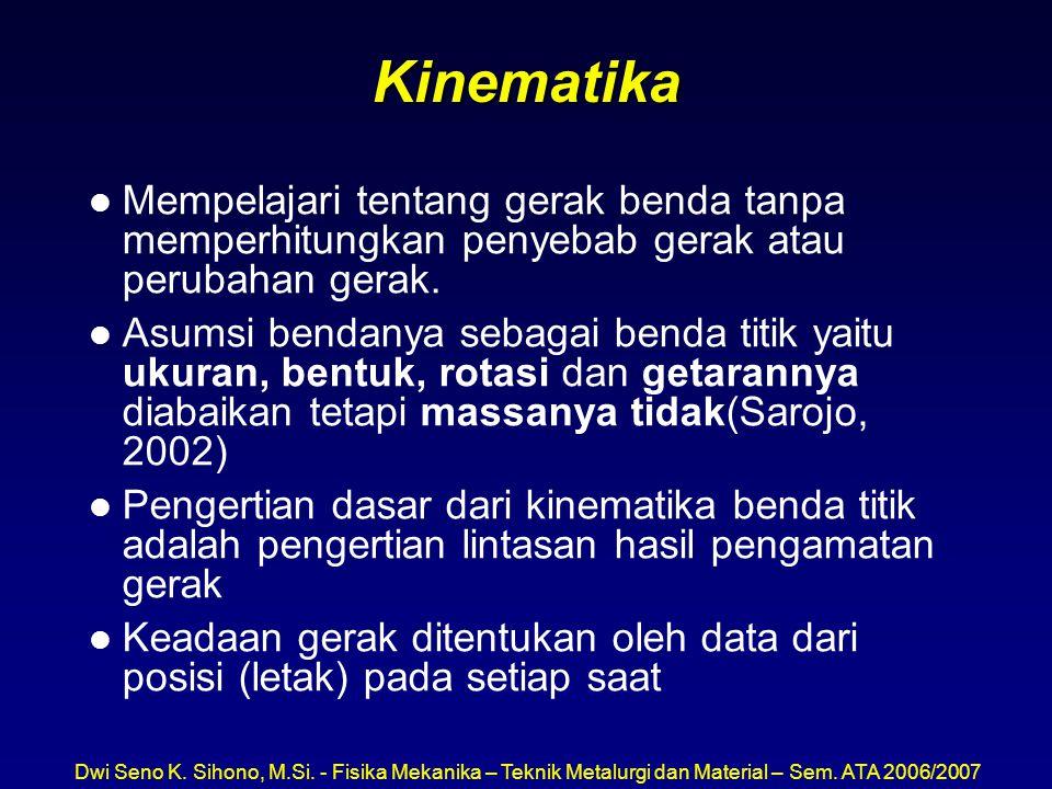 Kinematika Mempelajari tentang gerak benda tanpa memperhitungkan penyebab gerak atau perubahan gerak.