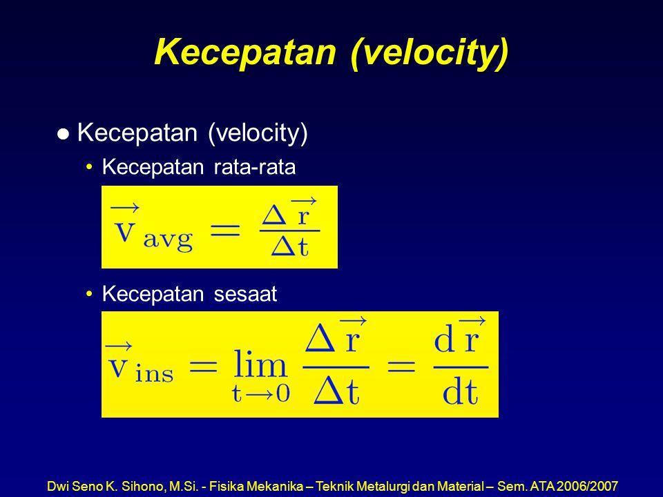 Kecepatan (velocity) Kecepatan (velocity) Kecepatan rata-rata