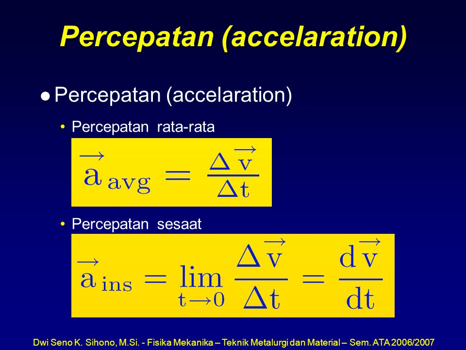 Percepatan (accelaration)