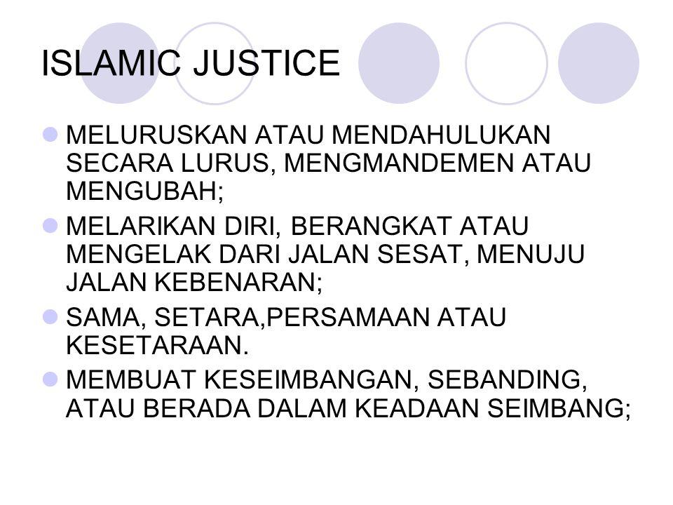 ISLAMIC JUSTICE MELURUSKAN ATAU MENDAHULUKAN SECARA LURUS, MENGMANDEMEN ATAU MENGUBAH;