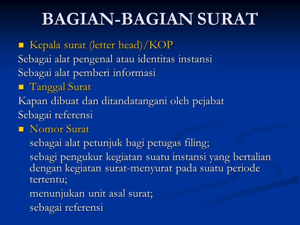 BAGIAN-BAGIAN SURAT Kepala surat (letter head)/KOP