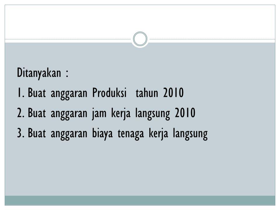 Ditanyakan : 1. Buat anggaran Produksi tahun 2010 2