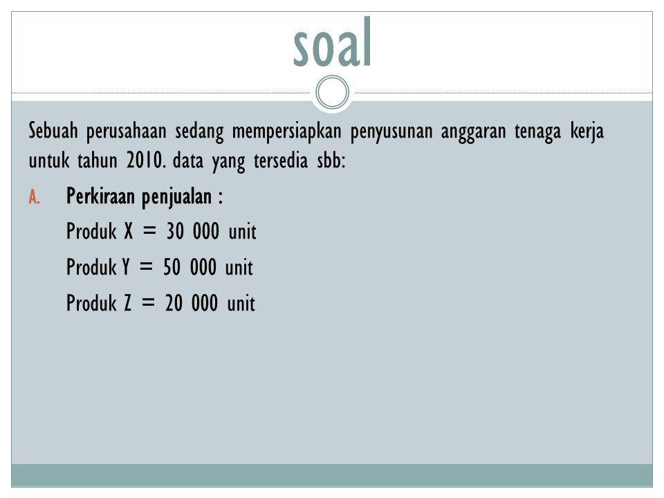 soal Sebuah perusahaan sedang mempersiapkan penyusunan anggaran tenaga kerja untuk tahun 2010. data yang tersedia sbb: