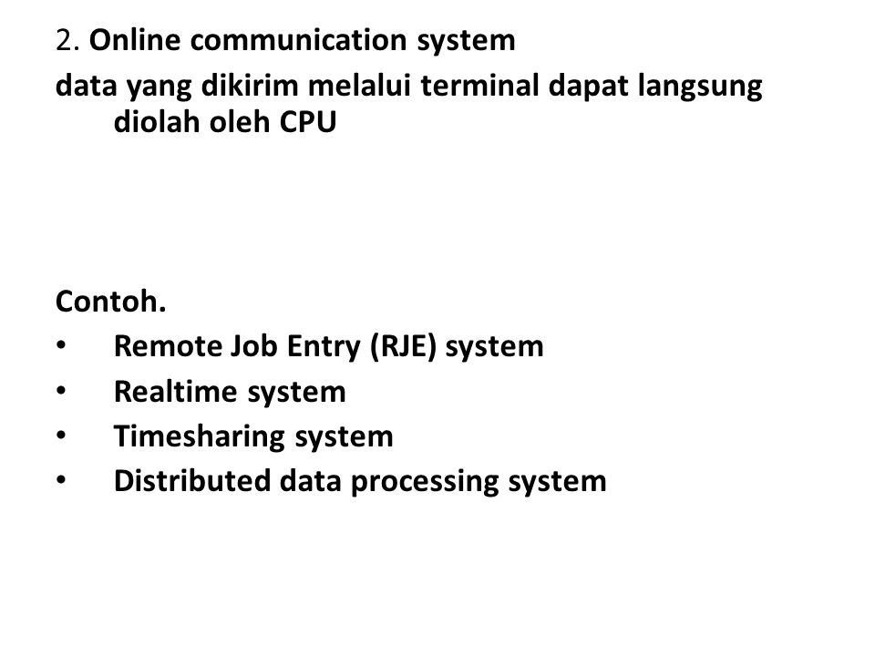 2. Online communication system