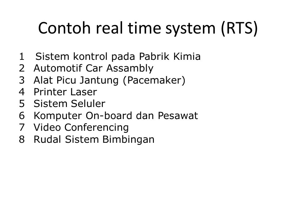 Contoh real time system (RTS)