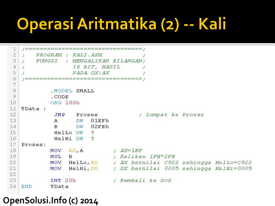 Operasi Aritmatika (2) -- Kali