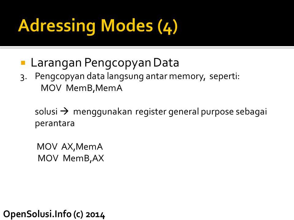 Adressing Modes (4) Larangan Pengcopyan Data