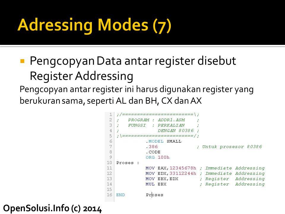 Adressing Modes (7) Pengcopyan Data antar register disebut Register Addressing. Pengcopyan antar register ini harus digunakan register yang.