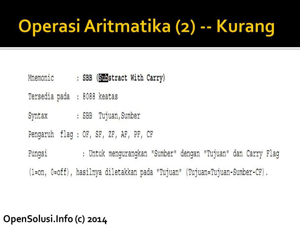 Operasi Aritmatika (2) -- Kurang