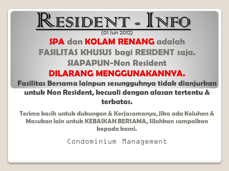RESIDENT - INFO SPA dan KOLAM RENANG adalah