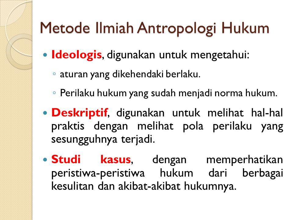 Metode Ilmiah Antropologi Hukum