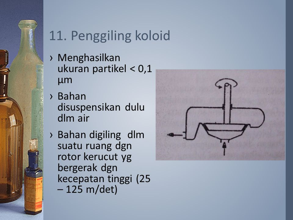 11. Penggiling koloid Menghasilkan ukuran partikel < 0,1 µm