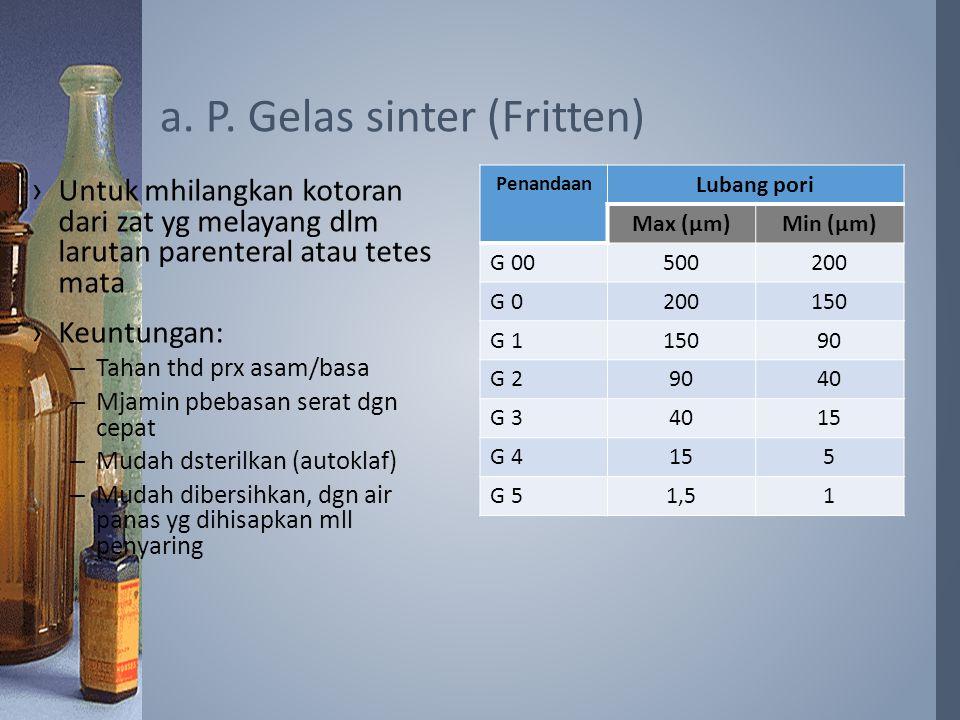 a. P. Gelas sinter (Fritten)