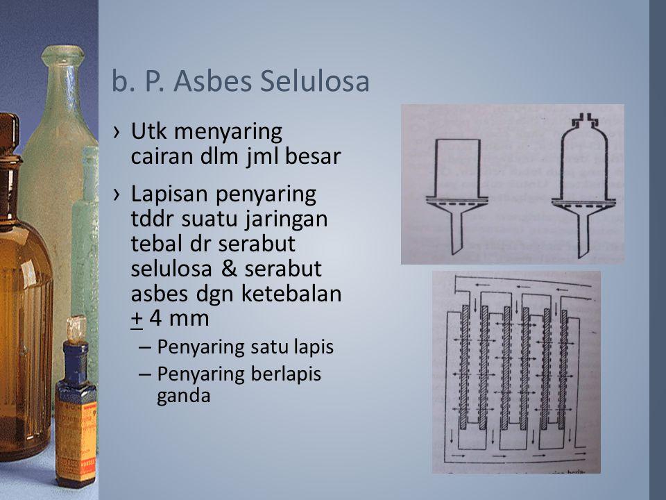 b. P. Asbes Selulosa Utk menyaring cairan dlm jml besar