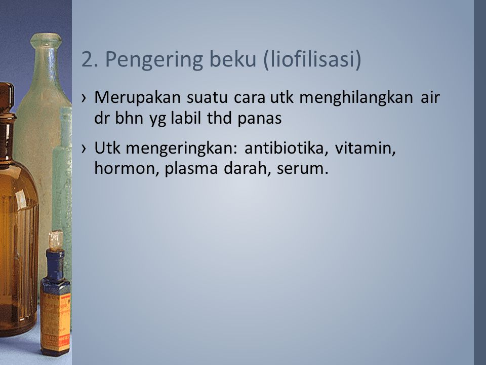 2. Pengering beku (liofilisasi)