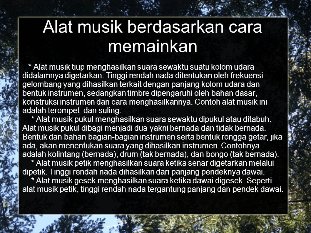 Alat musik berdasarkan cara memainkan