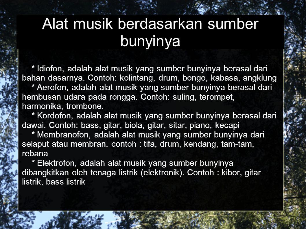 Alat musik berdasarkan sumber bunyinya