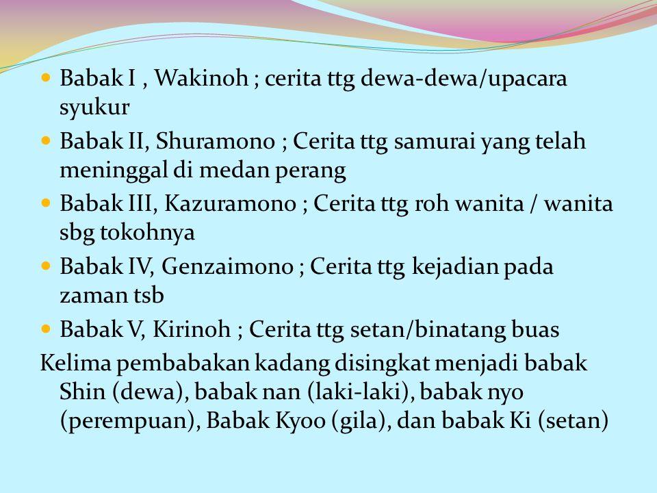 Babak I , Wakinoh ; cerita ttg dewa-dewa/upacara syukur