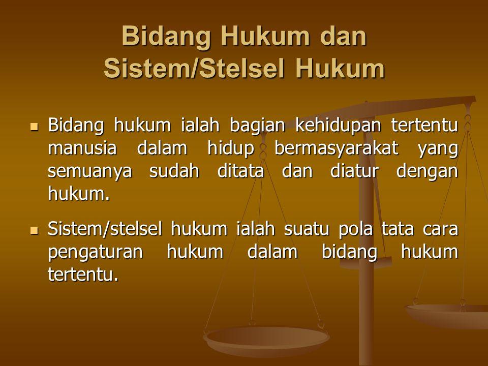 Bidang Hukum dan Sistem/Stelsel Hukum