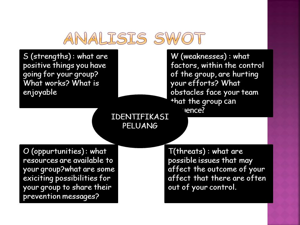 Analisis SWOT S (strengths) : what are positive things you have going for your group What works What is enjoyable.