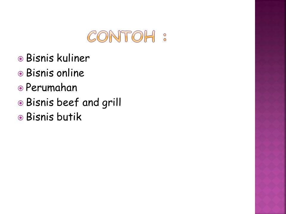 Contoh : Bisnis kuliner Bisnis online Perumahan Bisnis beef and grill
