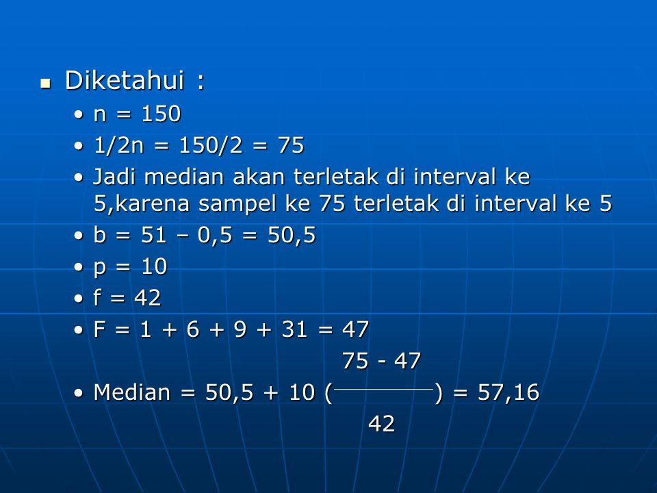 Diketahui : n = 150. 1/2n = 150/2 = 75. Jadi median akan terletak di interval ke 5,karena sampel ke 75 terletak di interval ke 5.