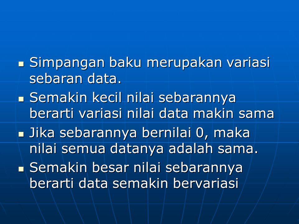 Simpangan baku merupakan variasi sebaran data.