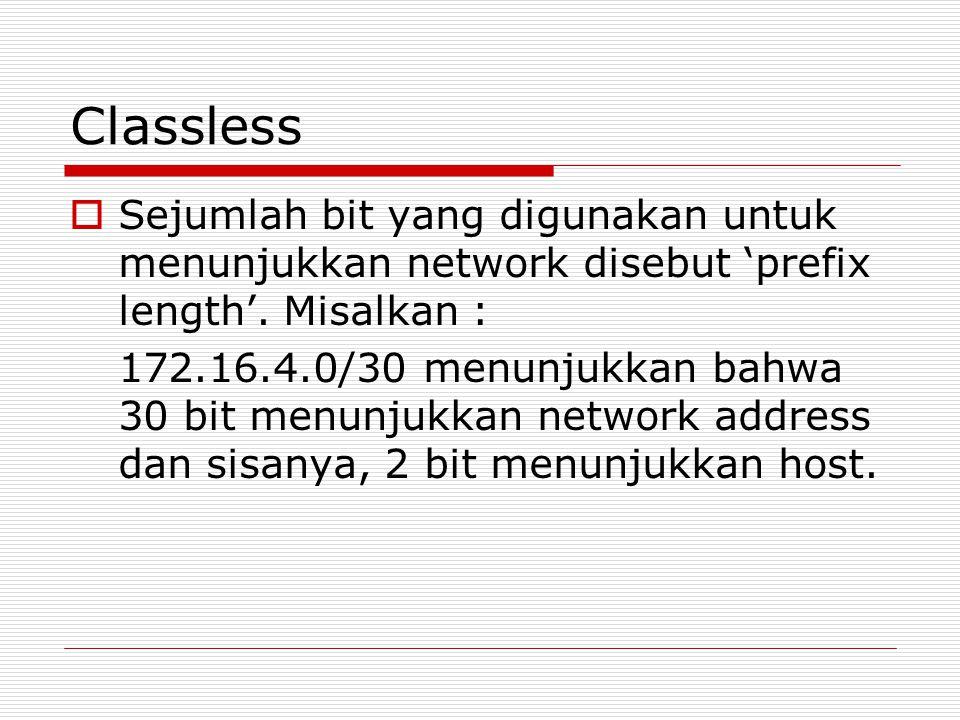 Classless Sejumlah bit yang digunakan untuk menunjukkan network disebut 'prefix length'. Misalkan :