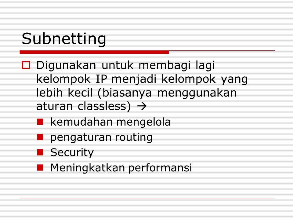 Subnetting Digunakan untuk membagi lagi kelompok IP menjadi kelompok yang lebih kecil (biasanya menggunakan aturan classless) 