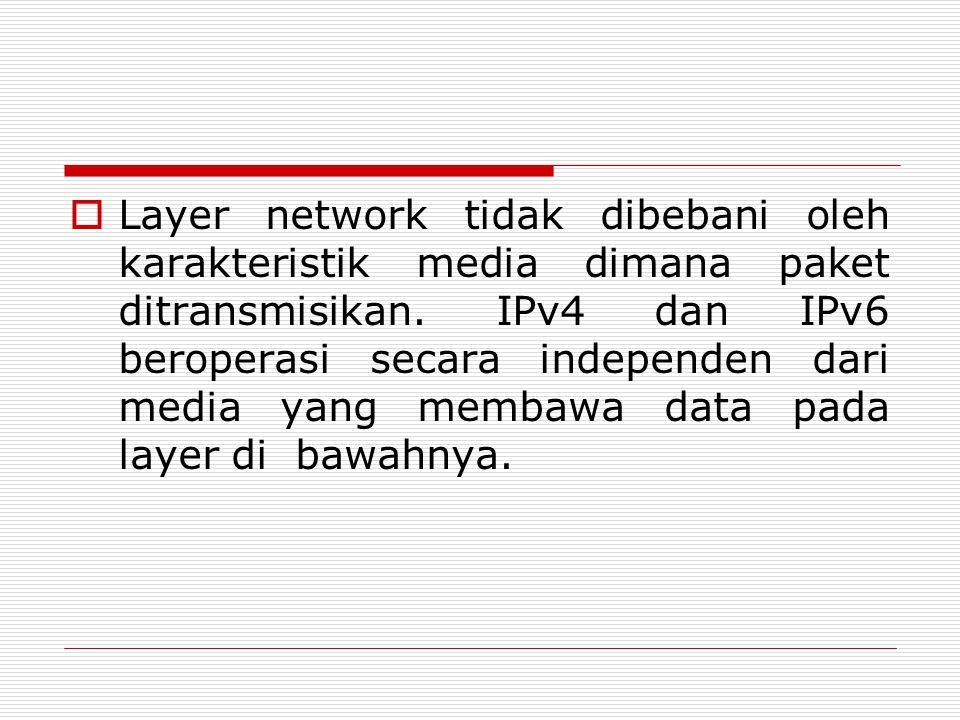 Layer network tidak dibebani oleh karakteristik media dimana paket ditransmisikan.