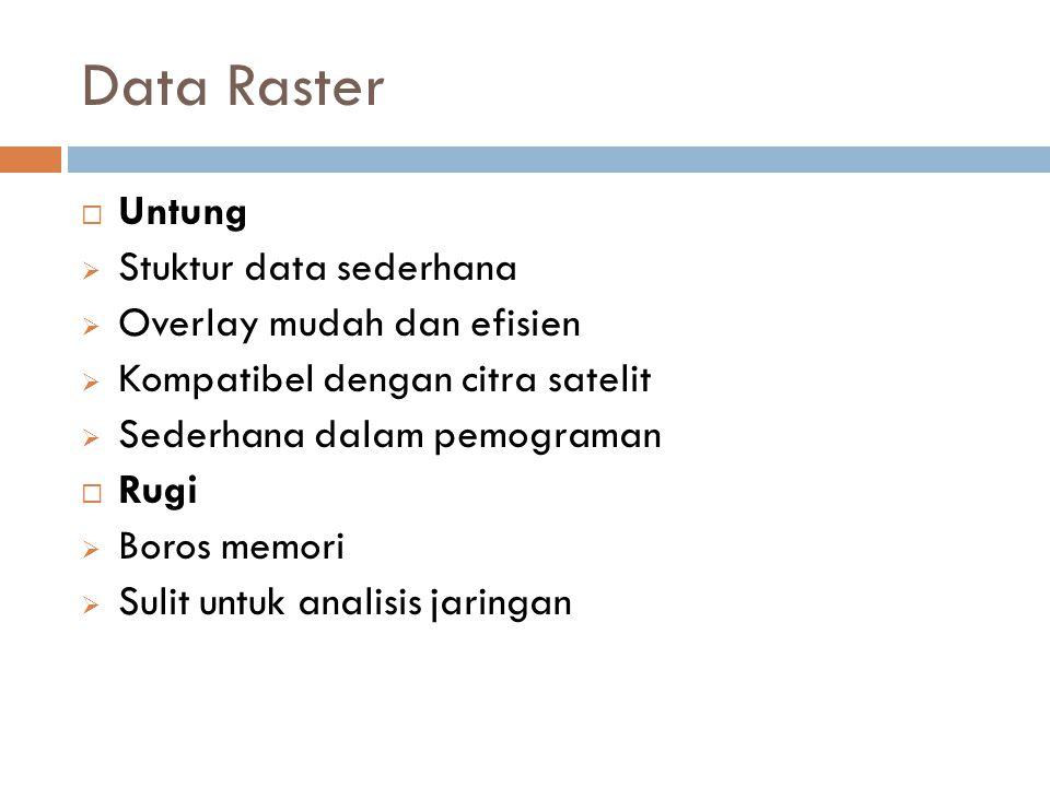 Data Raster Untung Stuktur data sederhana Overlay mudah dan efisien