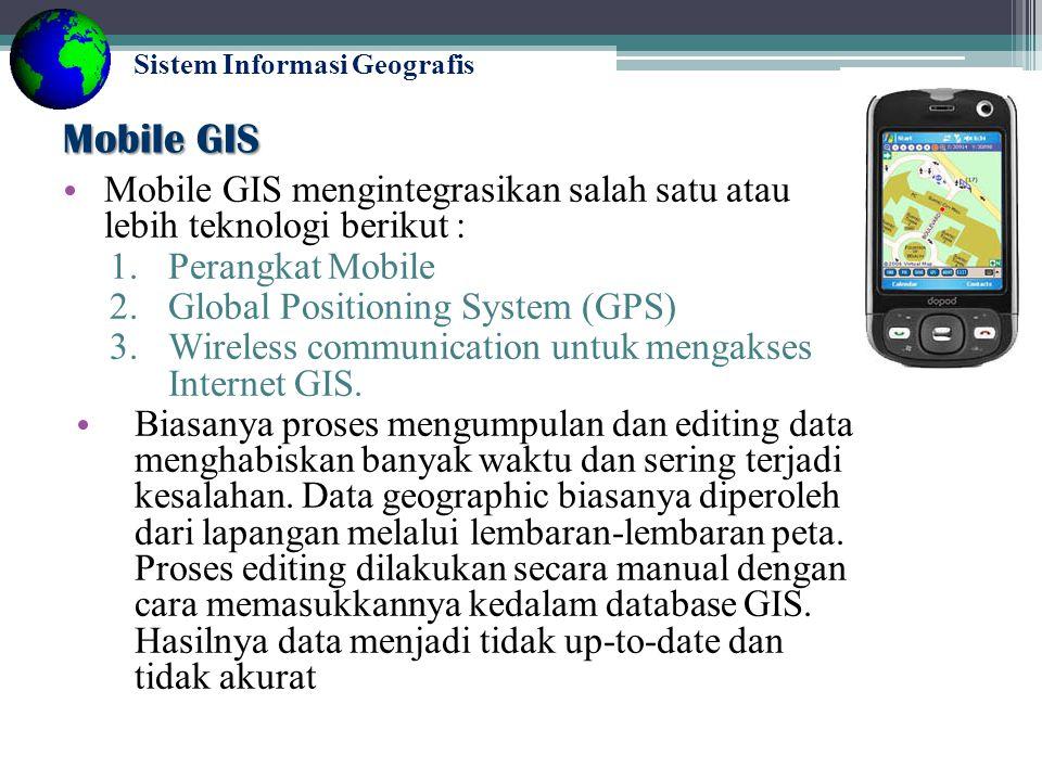 Mobile GIS Mobile GIS mengintegrasikan salah satu atau lebih teknologi berikut : Perangkat Mobile.