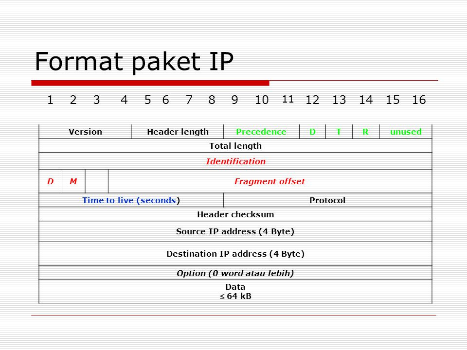 Format paket IP 1 2 3 4 5 6 7 8 9 10 12 13 14 15 16 11 Version