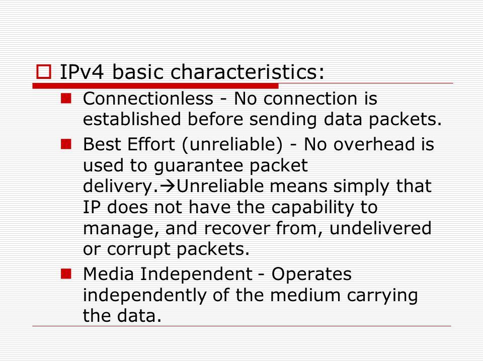 IPv4 basic characteristics: