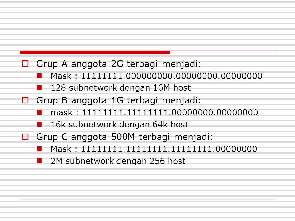 Grup A anggota 2G terbagi menjadi: