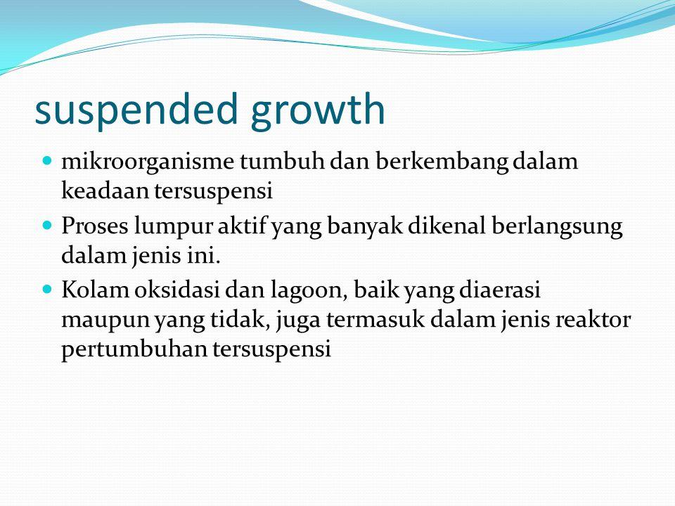 suspended growth mikroorganisme tumbuh dan berkembang dalam keadaan tersuspensi.