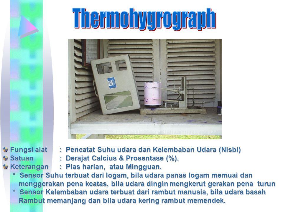 Thermohygrograph Fungsi alat : Pencatat Suhu udara dan Kelembaban Udara (Nisbi) Satuan : Derajat Calcius & Prosentase (%).
