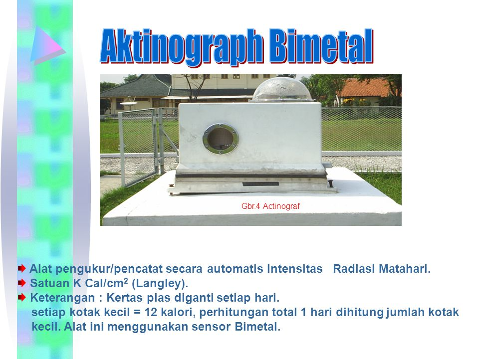 Aktinograph Bimetal Gbr.4 Actinograf. Alat pengukur/pencatat secara automatis Intensitas Radiasi Matahari.