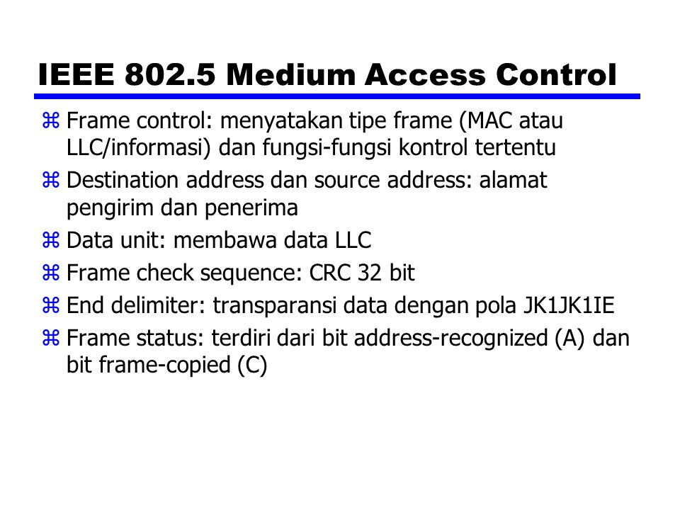 IEEE 802.5 Medium Access Control
