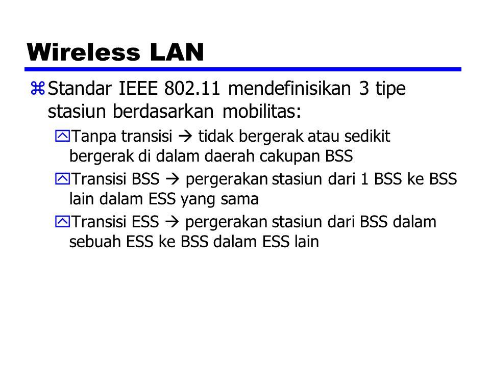 Wireless LAN Standar IEEE 802.11 mendefinisikan 3 tipe stasiun berdasarkan mobilitas: